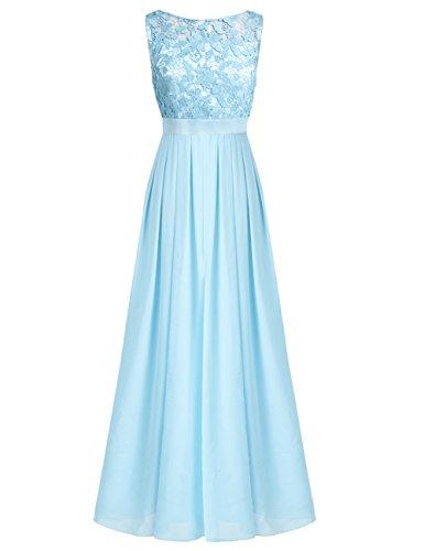 iixpin Damen Vintage Maxi-Spitzenkleid Elegant Brautjungfer Abendkleider Chiffon Hochzeit Festliche...