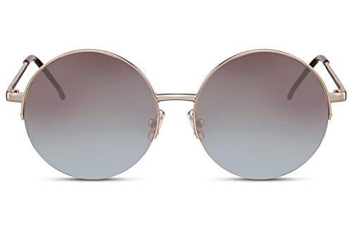 Cheapass Sonnenbrille Rund Groß Gold Blau-es Verlaufsglas UV-400 Hippie-Brille Halbrahmen Festival X-XL Metall Damen
