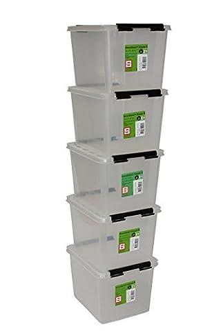 Orthex 35220705Clipbox Smart Store Classic Lot de 5Boîte de rangement en plastique transparent 20,5x 16,5x 24cm