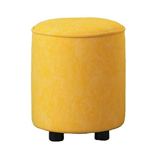 WYYY Bürostuhl Fußhocker Polsterhocker Modern Runder Sofa Hocker Schuhe Hocker Wohnzimmer Schlafzimmer Dauerhaft Durable stark (Color : Yellow, Size : 36 * 36 * 41cm) -