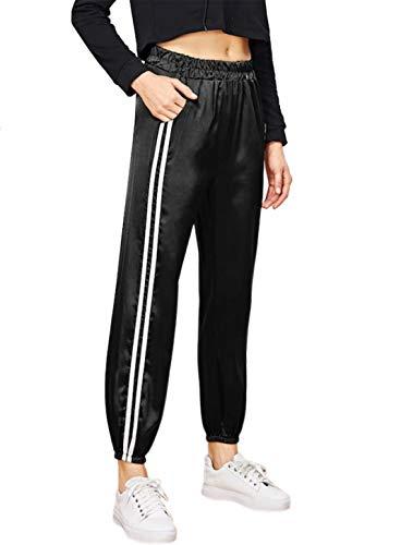 Uni-Wert Damen Sporthosen Schwarz Satin Streifen Pluderhosen Elastischer Bund Freizeithose Jogginghose Gym athletisch Lange Hosen mit Tasche -