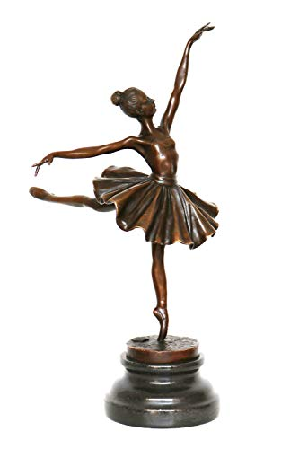 aubaho Bronzeskulptur Frau Tänzerin im Antik-Stil Bronze Figur Statue 32cm