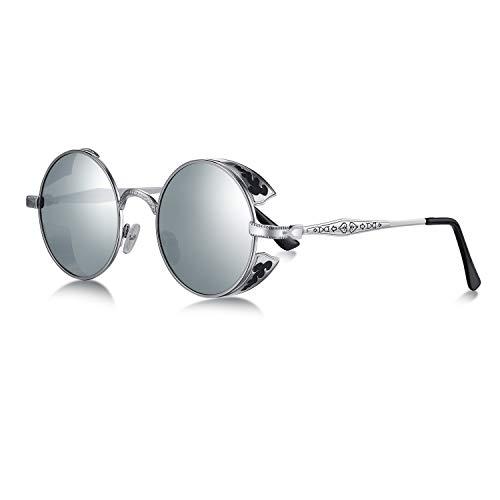 WHCREAT Retro Rund Steampunk Polarisierte Sonnenbrille Geprägtes Muster Brillen Für Herren Damen (Silber Rahmen - Verspiegelt Silber Linse)