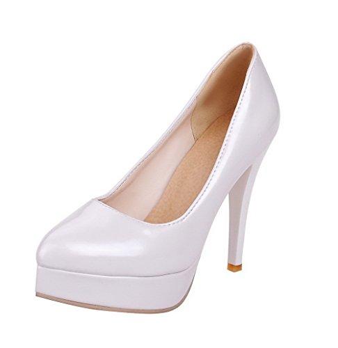 AllhqFashion Damen Hoher Absatz Rein Ziehen Auf Lackleder Spitz Zehe Pumps Schuhe Weiß