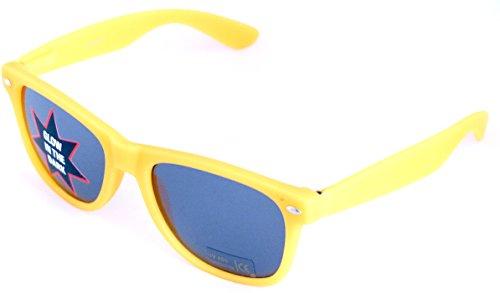 Wayfarer Nerd-Brille leuchtend Gelb Sonnen-Brille ohne Sehstärke 15cm Herren Damen Unisex...