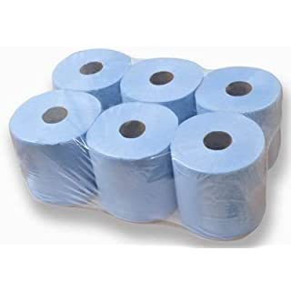 6 Rolls Of 2ply Blue Centrefeed Blue Paper Tissue Paper Rolls Brand New