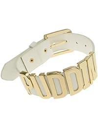 Coolcoco Ajustable Blanco Cinturón Oro Puddin Collar Ahogador para Mujeres y Niñas (Alrededor DE 1.2 Pulgadas de Ancho)