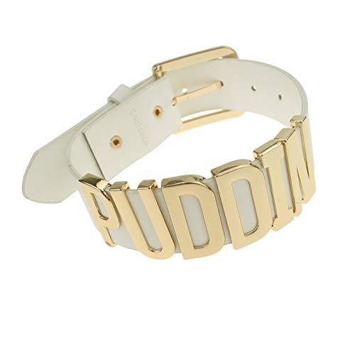 Udekit Verstellbar Weiße Leder Gürtel Gold Metall Buchstabe Puddin Halsband Halskette für Frauen und Mädchen (ca. 1,2 Zoll Breite)
