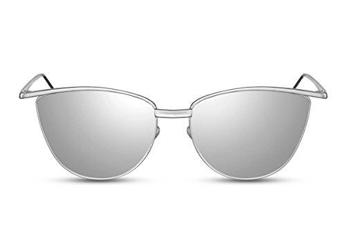 Cheapass Sonnenbrille Damen Cat-Eye Silber Verspiegelt Mirrored Designer-Brille UV400 Metall Frauen Mädchen
