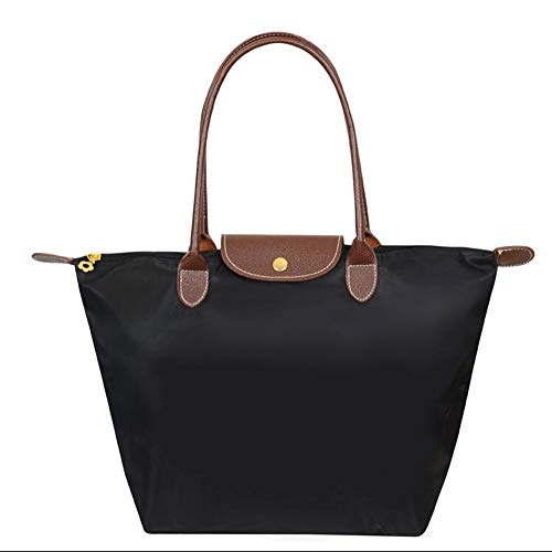 EXQULEG Tragetasche, Schultertaschen Damen Wasserdichte Handtaschen aus Nylon Umhaengetasche Strand Tasche (medium, Schwarz) Schwarzer Nylon-tasche