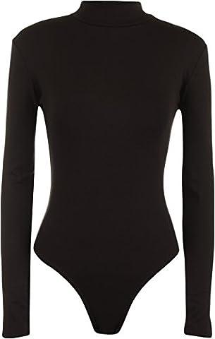 Womens Turtle Neck Bodysuit Ladies Long Sleeve Stretch Leotard Top