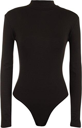 WearAll - Neu Damen Rollkragen Bodysuit Langarm Elastisch Gymnastikanzug Top - Schwarz - (Anzug Schwarzen Billig)