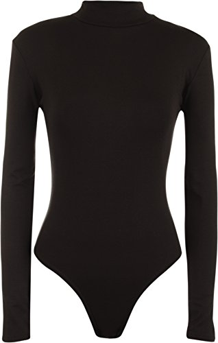 WearAll - Neu Damen Rollkragen Bodysuit Langarm Elastisch Gymnastikanzug Top - Schwarz - (Bodysuit Damen)