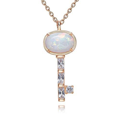 Sterling Silber Schlüsselbein Kette Damen Schlüssel Anhänger Australian Edelstein Anhänger Schmuck, Gold ()