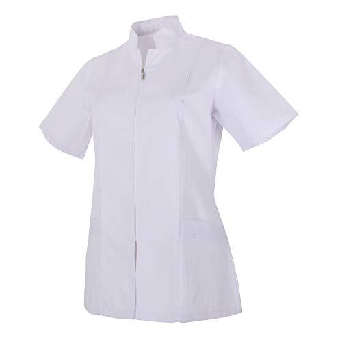 MISEMIYA - Arbeitskleidung Frau REIßVERSCHLUSS Kurze ÄRMEL UNIFORM KLINIK Krankenhaus Reinigung TIERARZT Gesundheit GASTGEWERBE - Ref.829 - Medium, Weiß