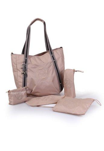 okiedog LUXE CLASSIC COSMO eleganter Shopper/Henkeltasche inkl. Zubehör (beige) (Luxe Handtaschen)