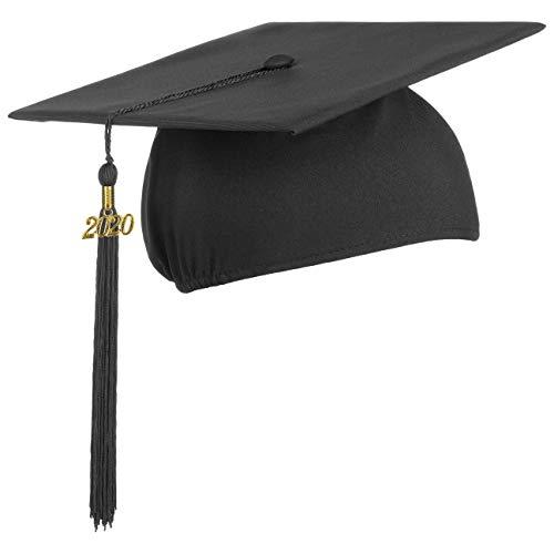 Lierys Doktorhut (Studentenhut) 2020 Jahreszahl Anhänger - 54-61 cm - Hut für Abschlussfeiern vom Studium, Universität, Hochschule, Abitur - Absolventenhut in blau, schwarz, rot (Schwarz)