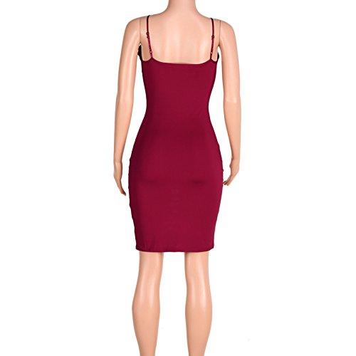 Frauen Mode Hohl ärmellos V-Ausschnitt Trägerlos Rückenfrei Sling Figurbetont Minikleid Trägerkleid Beachwear Damen Kleid Partykleider Ballkleid Partykleid Rot