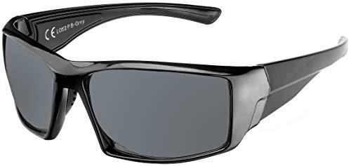 La Optica B.L.M. UV400 CAT 3 CE Unisex Damen Herren Sonnenbrille Sport - Einzelpack Glänzend Schwarz (Gläser: POLARISIERT Grau)_LOS2 P B-Grey