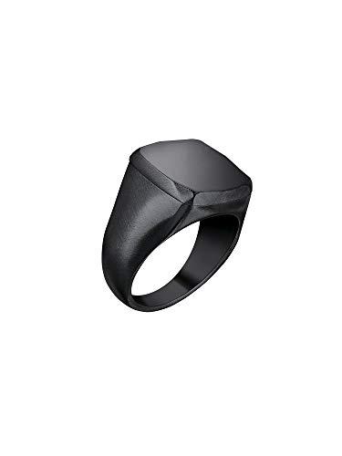 Gioiello breil collezione b seal, anello da uomo in acciaio colorato colore nero misura 23 - tj2775