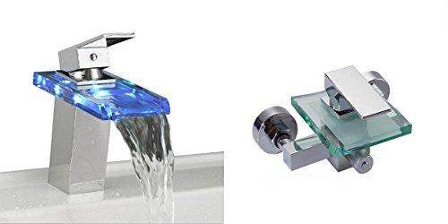 Set Glas Wasserfall Einhebelmischer Wannenarmatur und LED Wasserhahn Waschtisch Chrom | Armatur Badewanne Waschbecken | Einhebel Mischbatterie | Bad Wasserhahn - Chrom Glas Waschtisch