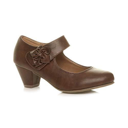 Damen Mitte Blockabsatz Lederfutter Komfort Blume Mary Jane Schuhe Größe 5 ()