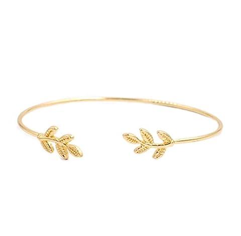 Armreif Armspange mit Blume Flower Weinblatt in Silber- und Gold-Optik von DesiDo® (Gold)