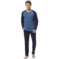 Aibrou 100% Algodón Pijama Hombre Invierno Mangas Larga Pantalon Largo 2 Piezas, Cómodo y Generoso ( M, Azul )