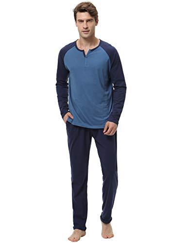Aibrou set pigiama due pezzi da uomo invernale, pigiama uomo lungo in cotone, maniche lunghe pigiama uomo completino in cotone, blu, tg. l