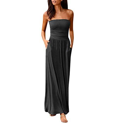 Holiday Damen Rock (Cocktailkleid Damen Sommerkleid Frauen Bandeau Partykleider Holiday Schulterfrei Langes Kleid Sommer Maxi Röcke Faltenrock Kleid)