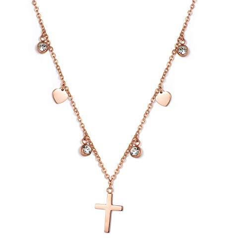 Urbanhelden - Halskette Für Damen I Choker-Kette Mit Kreuz-Anhänger I Eleganter Schmuck Aus Edelstahl I Roségold