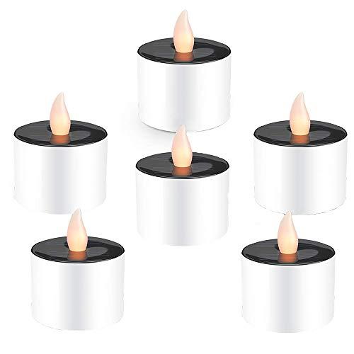 WYMI Lot de 6 Solaire LED Bougies Lumière Creative Portable Étanche Blanc Chaud Faux Thé sans Flammes avec Réaliste Scintillement pour Mariage Terrasse Maison Bar Party atmosphère décoration Lampes