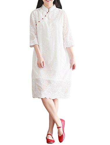 MatchLife Damen Tunika Embroidery Chinesisch Qipao Stil Sommerkleider Weiß