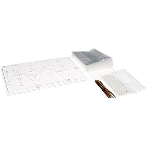 cybrtrayd 45stk25g-m134conciencia cinta Lolly Kit de Candy Hornear con Lollipop Fuente de chocolate, 25Palitos, 25bolsas y 25Oro Metálico Twist Ties
