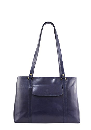 Borse a Spalla Donna Ruby in Vera Pelle, Made in Italy Navy