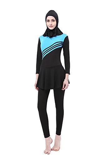 BOZEVON Damen Muslimischen Badeanzug Islamischen Full Cover Bescheidene Badebekleidung Swimwear Beachwear Burkini, Blau, EU 3XL=Tag 4XL - 2
