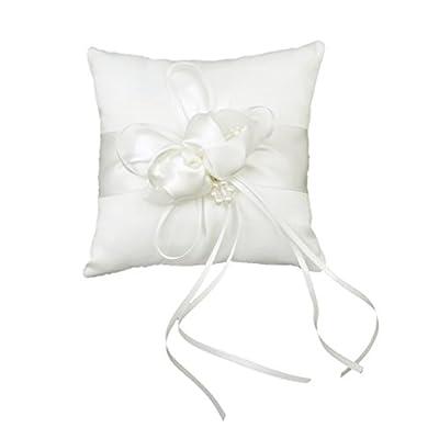 Lovely Bud Wedding Pocket Ring Pillow Cushion Bearer 15 x 15cm Ivory