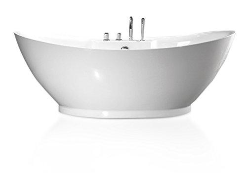 """perfect-spa Freistehende Badewanne \""""Liverpool\"""" Wanne inkl. Ab- und Überlauf Exclusive freistehende Badewanne Acrylwanne Wanne Dusche Bad incl. Amaturen"""