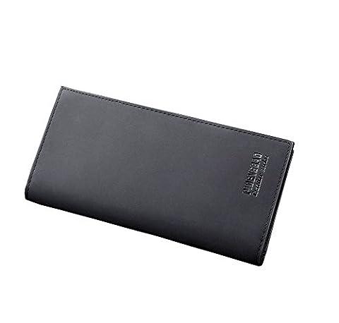 Wewod Men's Fashion Leisure PU Leather High Capacity Long Zipper Wallet Multi-card Bit Card Holder Clutch Business Purse (Black)