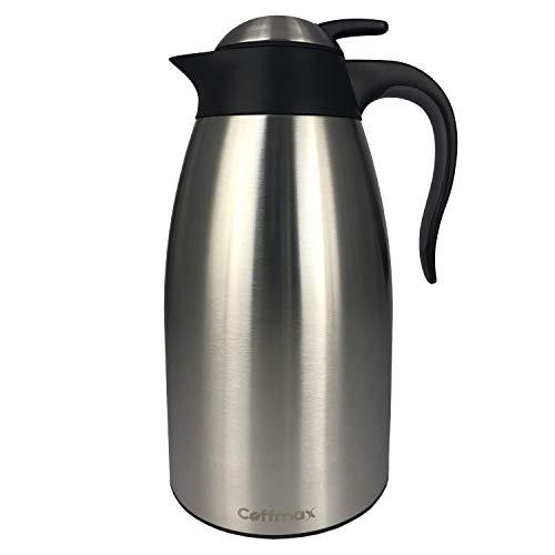 Coffmax Thermo-Kaffeekanne, 2 l, doppelwandig, vakuumisoliert, BPA-frei, aus Edelstahl, Labortests für heiße und kalte Thermoskanne, 12 Stunden Wärmespeicherung, von Coffmax