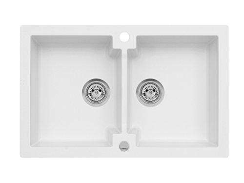 Einbau Spüle Mojito 160 für 80er Axigranit Doppelbecken Küchenspüle 79 x 50 cm (Axis Weiss)