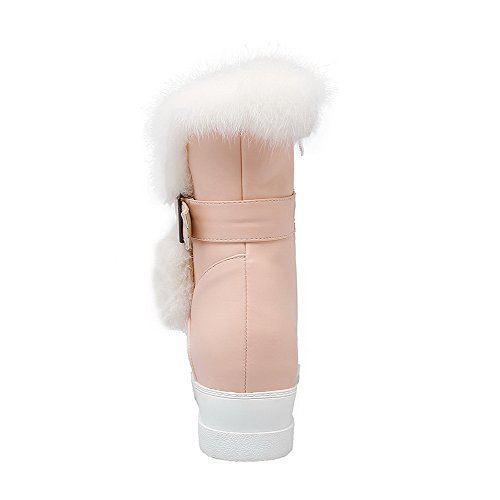 AllhqFashion Damen Niedrig-Spitze Reißverschluss Mittler Absatz Stiefel mit Schnalle Pink