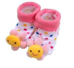 Light Pink Sunflower - Irresistibly Cute Baby Boy Girl 3D Bootie Socks Anti / Non Slip 0-12 months