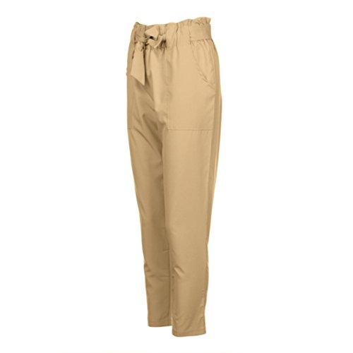 Longra Femmes Maigre Pantalons longs Décontractée Taille haute Stretch Slim Pantalon à Crayons Kaki