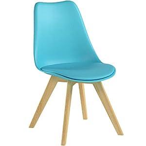 WOLTU BH29bl-1 1 x Esszimmerstuhl 1 Stück Esszimmerstuhl Design Stuhl Küchenstuhl Holz Blau