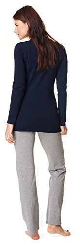 Noppies Pyjamas Amanda / 2 dans 1 Pyjama maternité Sommeil Chemise + Pantalon pyjama Lingerie de nuit fermé pyjama Pantalon & Chemise (marine/gris)