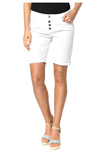 Urban Surface Damen Bermuda Shorts | Bequeme Kurze Stoffhose aus Stretch-Twill - Loose Fit White XS