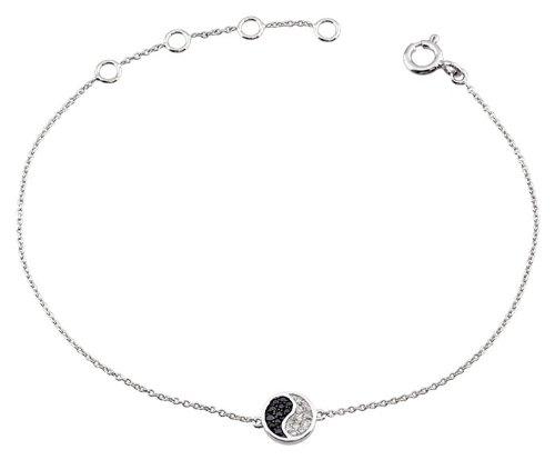 Orleo - REF5169 : Bracelet Femme Or 18K blanc et Diamant - Ying Yang