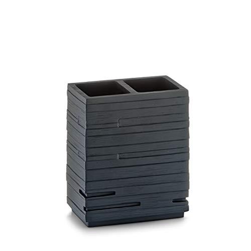 Zeller 18318 Zahnbürstenhalter Schiefer, Polyresin, schwarz, ca. 10,1 x 6,3 x 11,5 cm