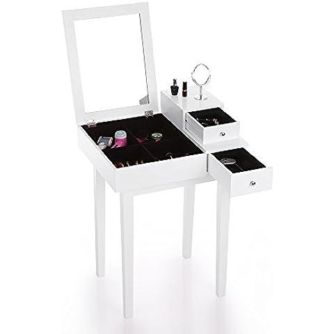 IKAYAA Camera da Letto Vanity Table Compongono Specchio Toilette & Cassetto Gioielli Armadi di Stoccaggio